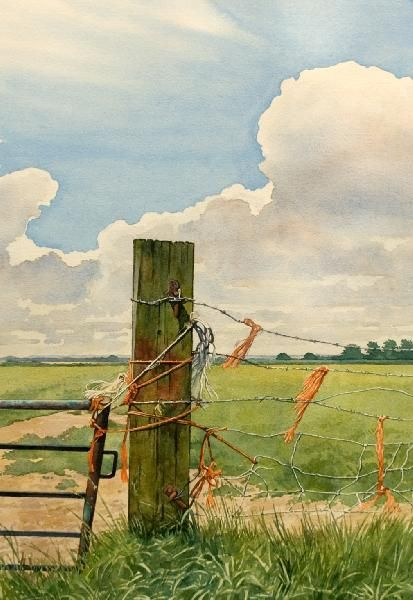 """""""Fence Repairs,"""" by Brain Robinson. Makes me think of summers as a child, with nothing to do but wander ..."""