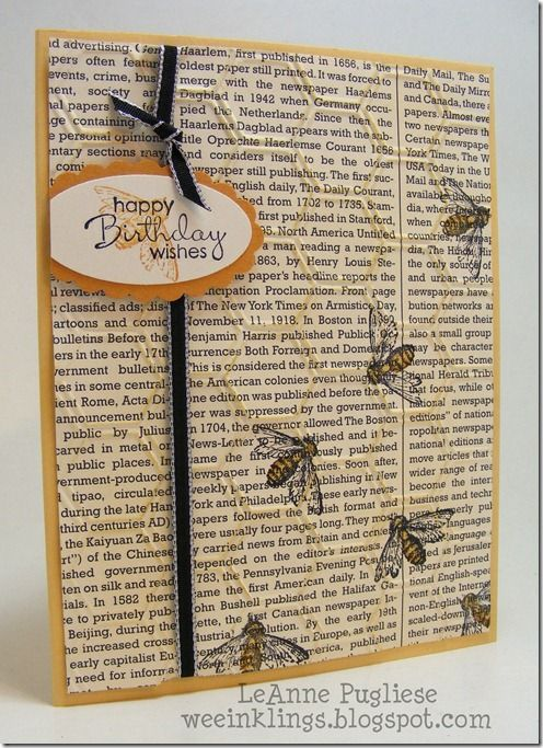 I like how LeAnne stamped the bee image from Nature Walk on First Edition dsp & then embossed with the Honeycomb embossing folder.