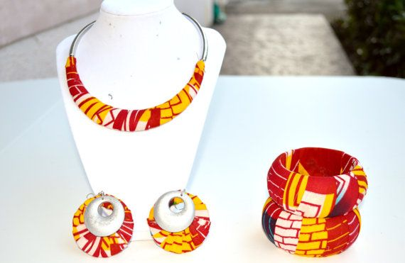 Red Yellow And White African Jewelry Gift Set by ZabbaDesigns, $40.00