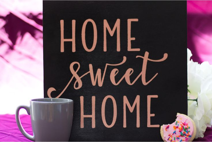 Rose Gold Home Sweet Home Wood Sign by DazzlingCreationsCA on Etsy