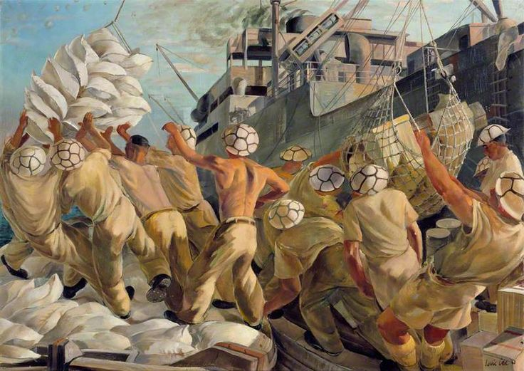 Leslie Cole - Malta: No Time to Lose, Soldier Dockers Unloading a Convoy during a Raid, 1943