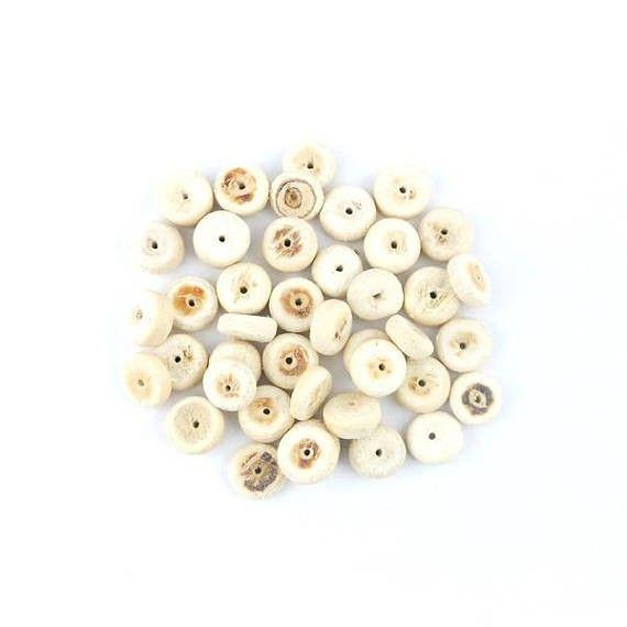 x50 Perle rondelle en bois de coco  écru 8mm (21C)