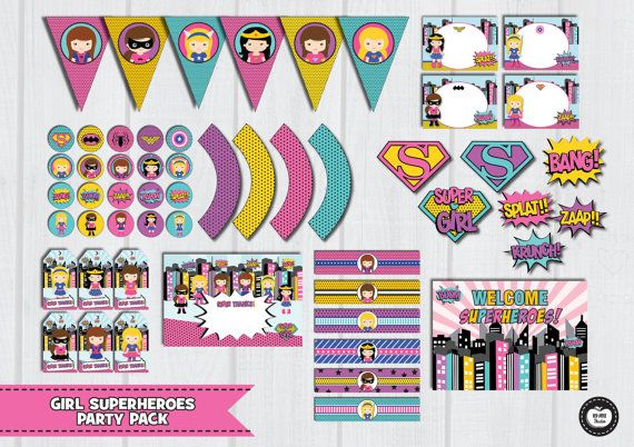 GIRL SUPERHERO Party Pack, Girl Superhero Party Set, Superhero Party Kit, Superhero Girl Birthday Party Supplies, Wonder Woman Party Package