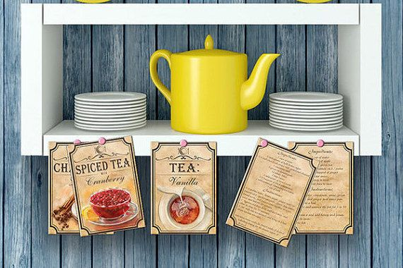 5 Recipes for Tea Time Recipe Card Digital by BlueberryDreamDesign