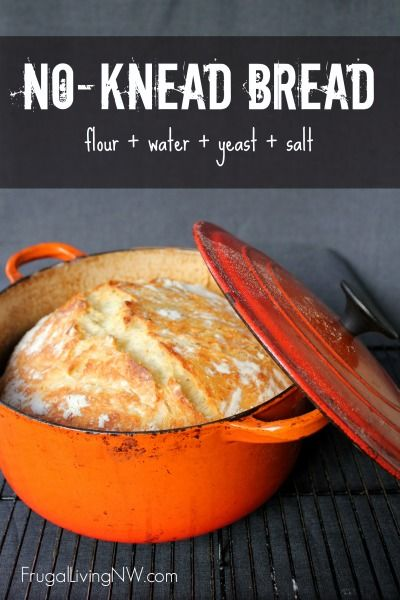 Simple no-knead bread recipe. This bread is crispy on the outside and soft on the inside with only 5 minutes of hands-on time. Perfect recipe for beginners. https://www.frugallivingnw.com