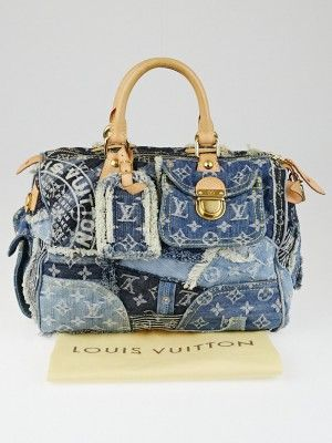 rare Louis Vuitton Limited Edition Blue Monogram Denim Patchwork Speedy Bag. Louis Vuitton 2007 Spring/Summer Denim collection. It features unique stonewashed denim patchwork pieces with the iconic LV pattern, removable denim luggage tag, ruched details, and push-lock flap closure pocket. You can spend hours studying the details on this bag and marvel at the creativity of its design. Be prepared to be the center of attention whenever you carry this Marc Jacobs designed wearable art!