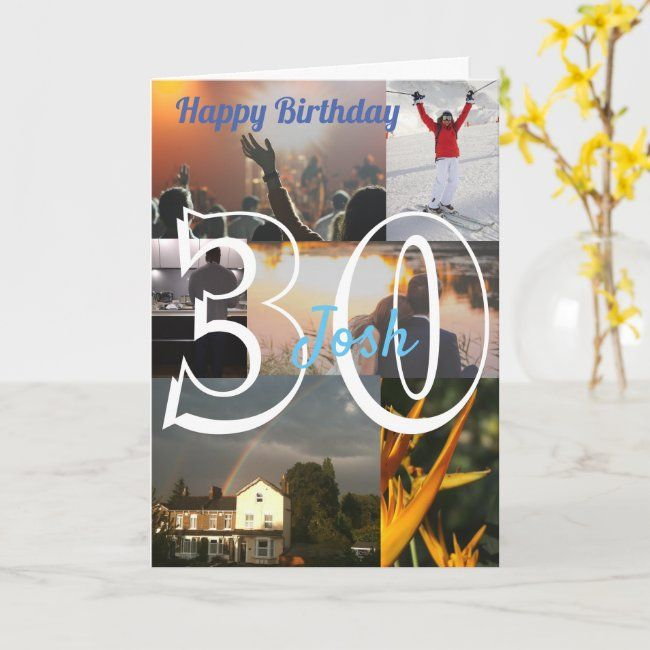 Personalised Photo Upload 30th Birthday Card Zazzle Com 60th Birthday Cards 40th Birthday Cards 80th Birthday Cards