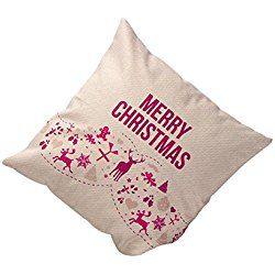 Sankuwen Home Decoration Christmas Pillow Cushion Cover (Pink Merry Christmas)