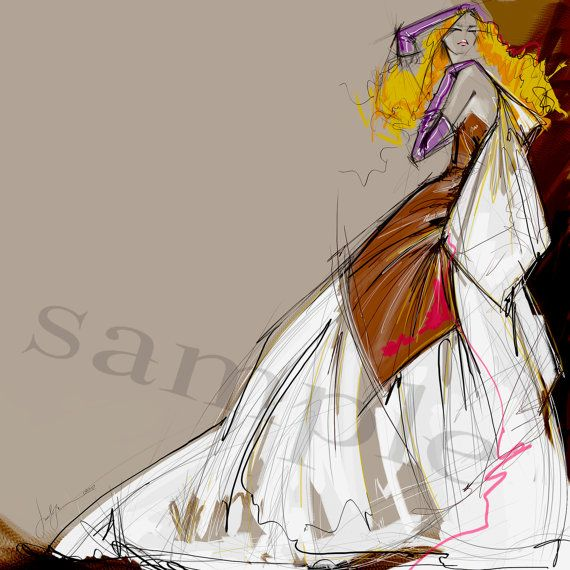 "Fashion Illustration ""Purple Gloves"" is gorgeous abstract drawing. Drawing & Illustration of fashion 
