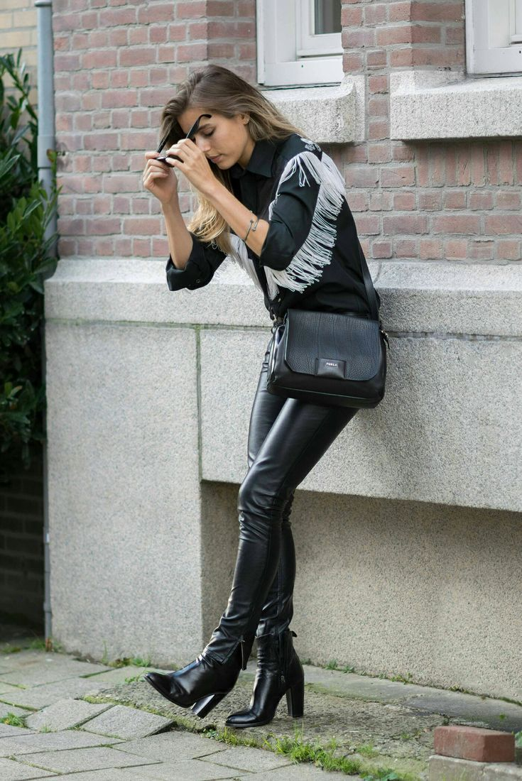 snap black leather leggings and high heel ankle boots