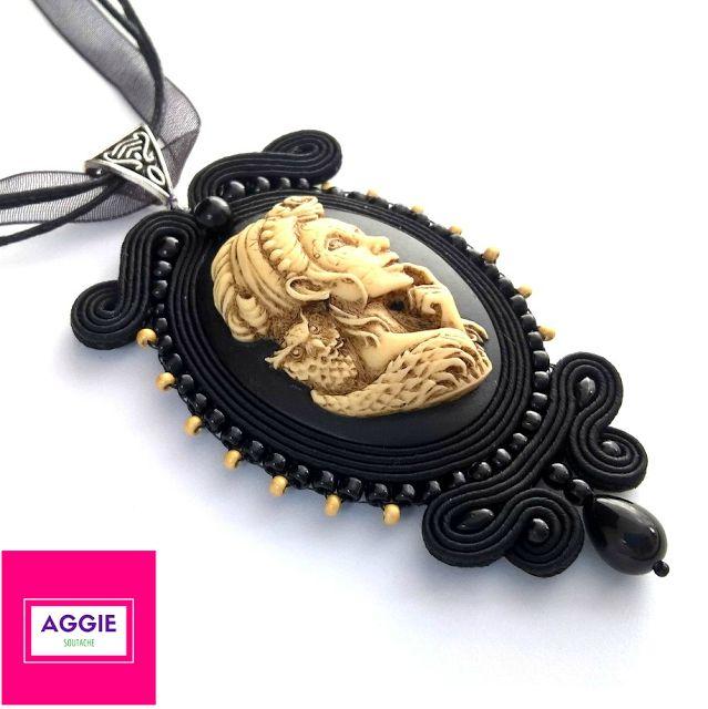 Czarny gotycki wisiorek sutasz ; Gotycka biżuteria ; Gothic black soutache pendant