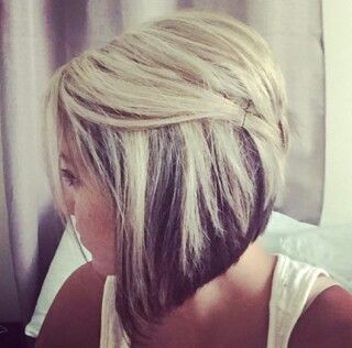 Blonde highlights and angled bob Hair By Brooke