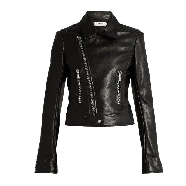 Balenciaga Leather Biker Jacket ($2,745) ❤ liked on Polyvore featuring outerwear, jackets, 100 leather jacket, leather motorcycle jacket, leather moto jacket, leather jackets and rider leather jacket