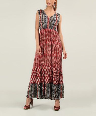 Another great find on #zulily! Maroon Tribal Maxi Dress #zulilyfinds