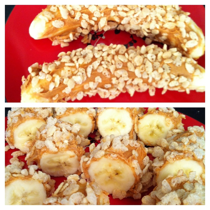 Bananas with peanut butter and rice crispy so easy to for Easy after school snacks for kids to make