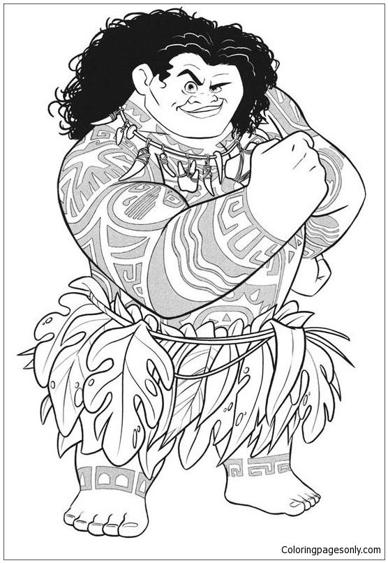 Maui From Moana Disney Coloring Page Moana Coloring