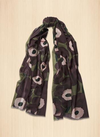 MARIMEKKO FIORE 2 SCARF STONE GREY, PLUM, POWDER  #floral #unikko #gray #grey #purple #plum #pink #balletpink #babypink #scarf #cotton #marimekko #pirkkoseattle #pirkkofinland