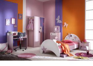 Meisjeskamer met vlinders en sterretjes in lila (incl. 2 deurs kledingkast) | Meisjeskamers