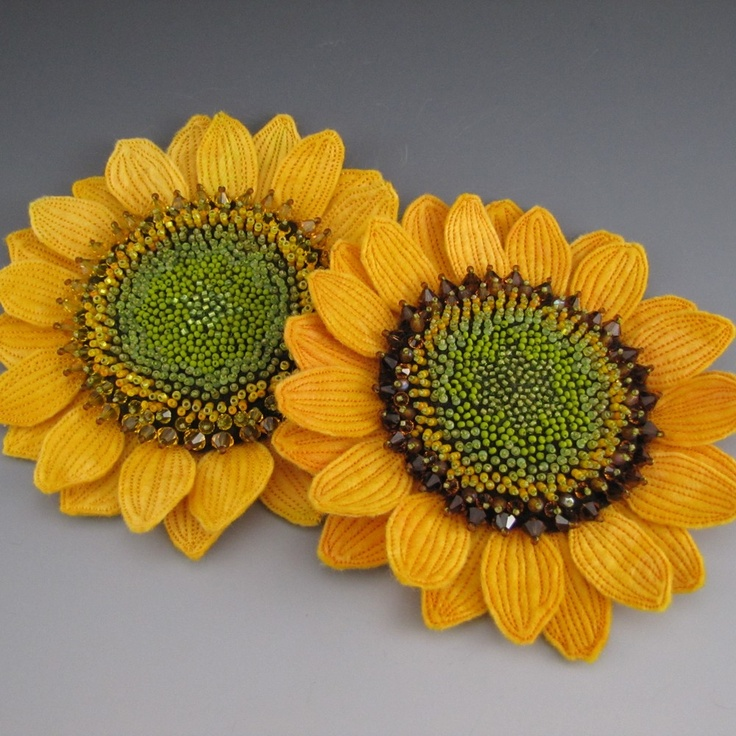 Golden Yellow Sunflower Felt Brooch by fiberartandadornment