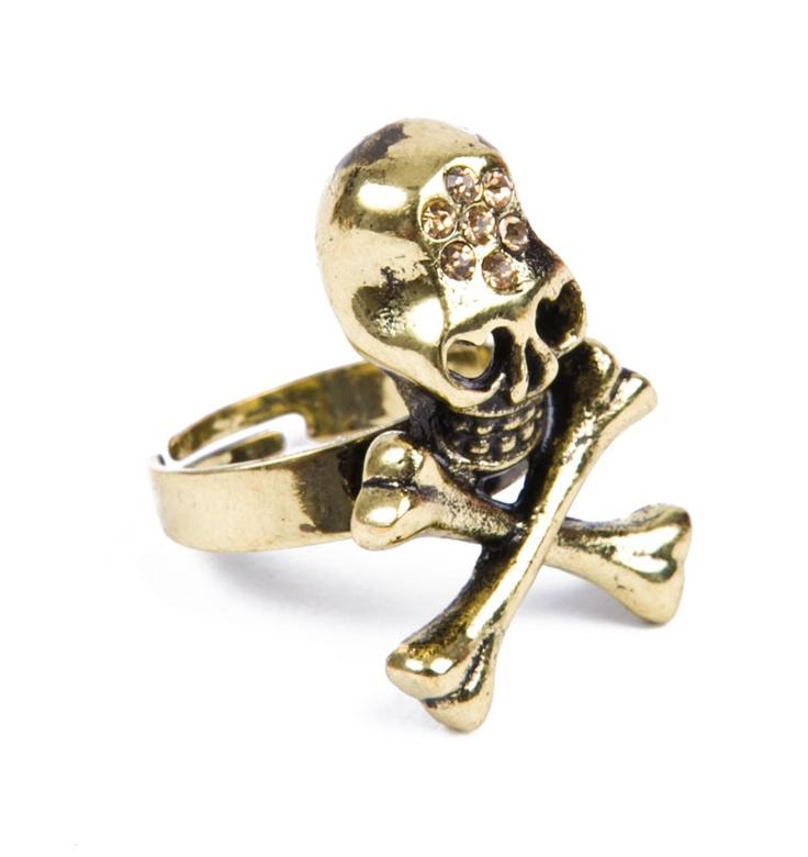 LOVE CROSSBONE SKULL GOLDEN RING