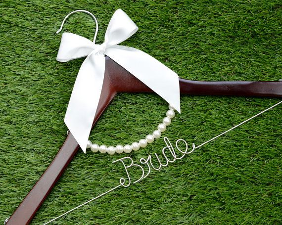 Wedding Hanger, bow wire name Hanger,  Personalized Custom Bridal Hanger, Bridal Hanger, Bride name hanger on Etsy, $5.99