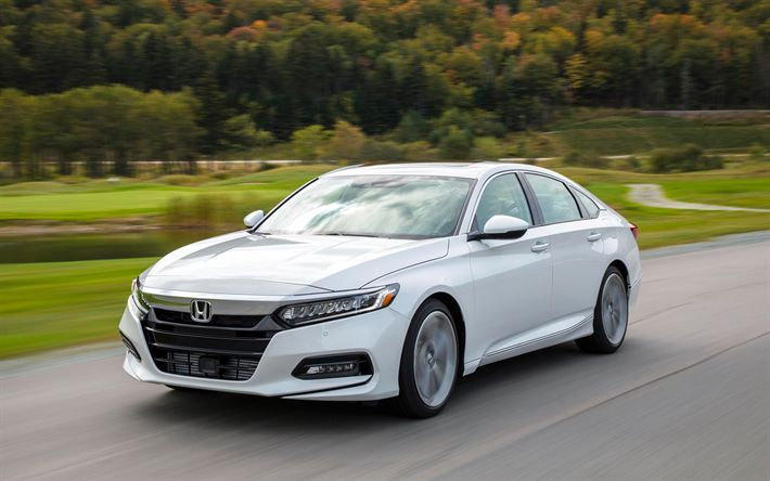 Download wallpapers Honda Accord, 2018, 4k, white sedan, business class, white new Accord, Japanese cars, Honda