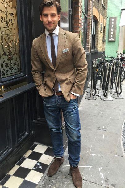 Blazer: Hackett  Shirt: Anton Meyer  Tie: Brunello Cucinelli  Pocket square: Brunello Cucinelli  Jeans: AG Jeans  Shoes: Louis Vuitton  Belt: Brunello Cucinelli