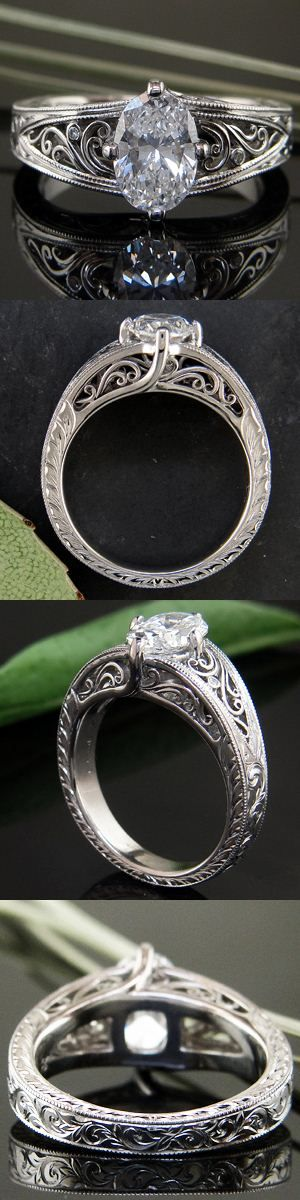 Shazzzam~! Oval cut diamond is a cool take on an antique setting; the hand crafted filigree gives of an estate look, but the way the prongs arise organically lends a real modern twist this this ring...from the Seattle-based custom design house, Green Lake Jewelry Works
