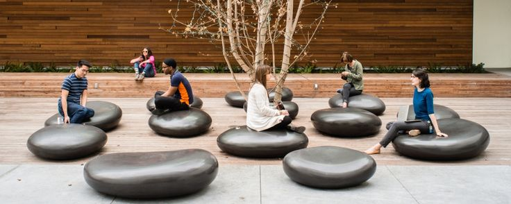 The SoMA Stones were created from real stones the size of dollar coins. Using 3D technology these stones were transformed into bold outdoor seating. Concreteworks collaborated with Meyer + Silberberg Land Architects for this project at the 888 Brannan building in San Francisco, California.