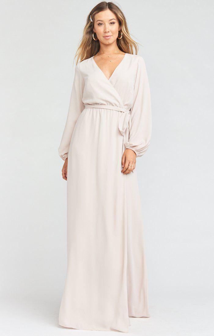 18++ Long white wrap dress info