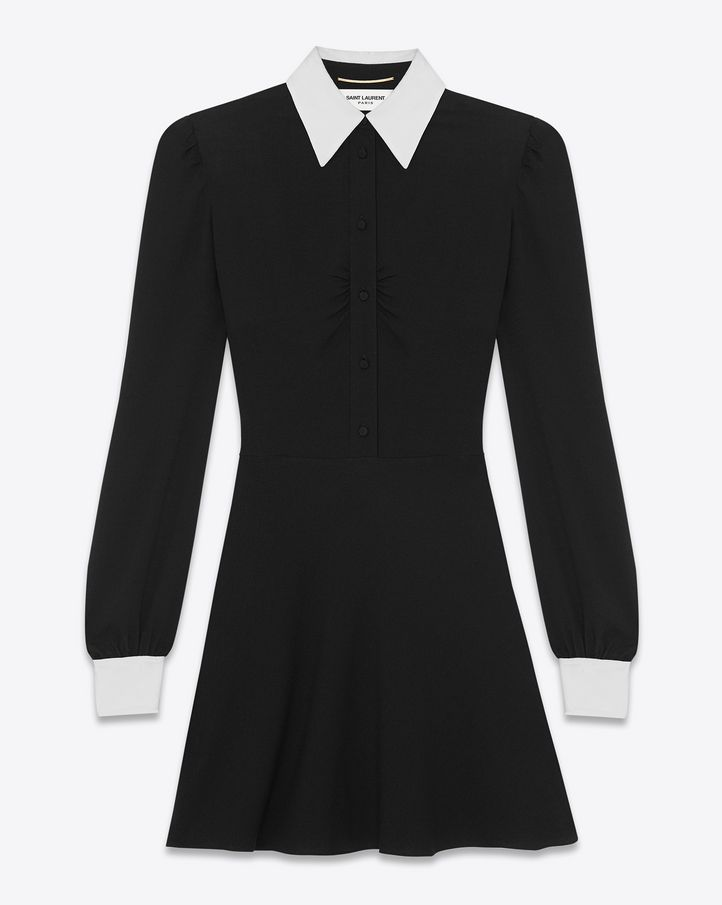 SAINT LAURENT mini dress with contrasting barrel cuff and point ...