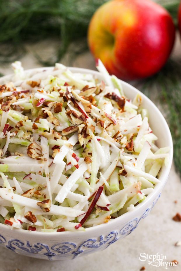 Light and refreshing Shaved Fennel and Apple Slaw with crunchy chopped pecans and a creamy non-fat honey Greek yogurt dressing l www.stephinthyme.com #glutenfree #vegetarian #fall
