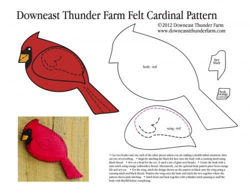 Cardinal Felt Pattern -- other bird patterns on this page too -- good for kids and adults to make!