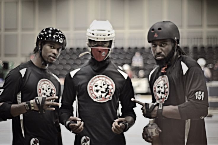 "Let me introduce you to the ""Triple Threat""  Left - Black N Wild Middle - SweetMeat Right - MistHer 151  Photo Credit - Tracie Love-Tap Hunter   #rollerderby #MRDA #CMD #collisionmensderby"
