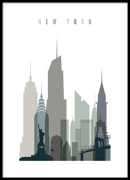 New York Skyline Poster in der Gruppe Poster / Kar…