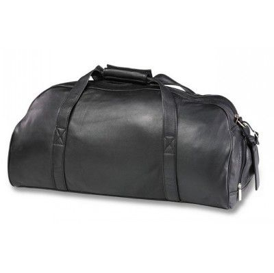 Leather Executive Sports Bag. Full grain Nappa cow leather, multiple compartments, separated shoe storage section, shoulder strap, available in black & brown, size 55 x 25 x 28 cm.
