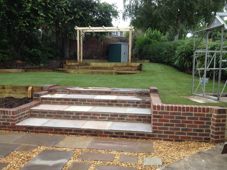 Brick Tiered Steps Complemented With Paving Slabs