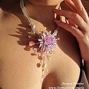 Украшения ручной работы. Ярмарка Мастеров - ручная работа Колье с цветком георгина. Handmade.