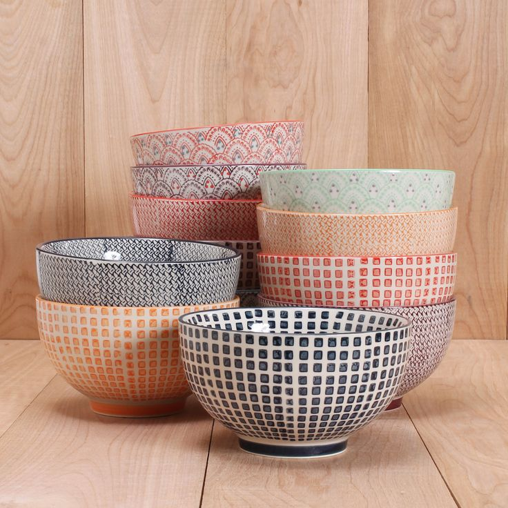 """5.25"""" Hand-painted bowls great for cereal, soup or salad! Mix and match styles. Dishwasher safe."""