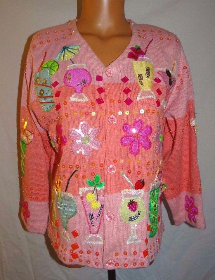 Design Options Philip Jane Gordon Sweater Cocktail Beaded Sequin Med Pink Floral #DesignOriginals #Cardigan