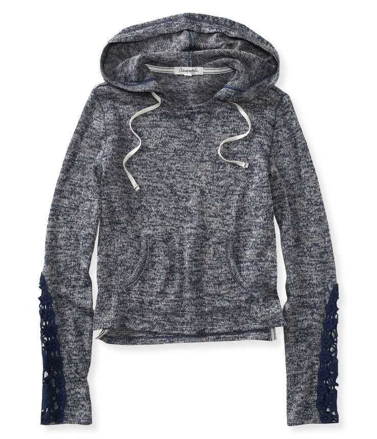 Sheer Cropped Lightweight Popover Hoodie from Aeropostale