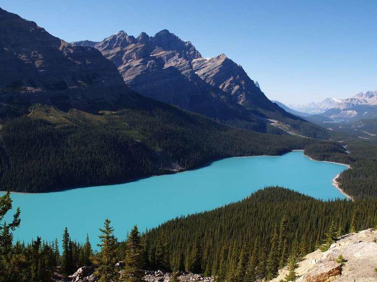 Situé dans le parc national canadien de Banff, le lac Peyto s'est creusé un trou entre les Rocheuses, au fond duquel repose des eaux turquoise sur 2,8 km de long et 800 m de large, au milieu de la...