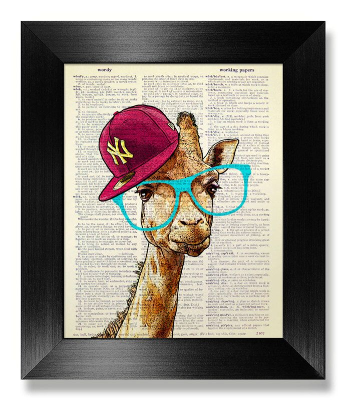 GEEKERY Giraffe Nursery Wall Art Print, College DORM Decor, Teen Boy Room Decor, Geek Gift Man, Blue Glasses, Cap Hat, GIRAFFE Illustration by MEOWconcept on Etsy https://www.etsy.com/listing/200142129/geekery-giraffe-nursery-wall-art-print