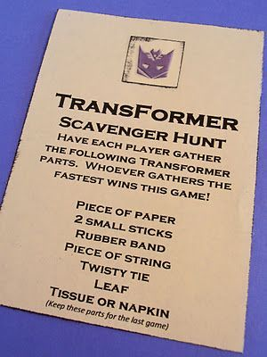 Instead of transformer parts, put transformer doll pieces hidden around or printed out transformers taped around in hidden places