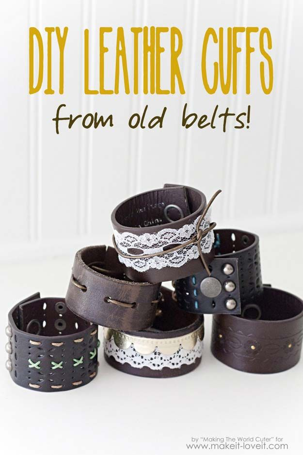 Cool Steampunk DIY Ideas – PDIY Leather Cuffs From Old Belts – Easy Home …  – Schmuck selbst basteln