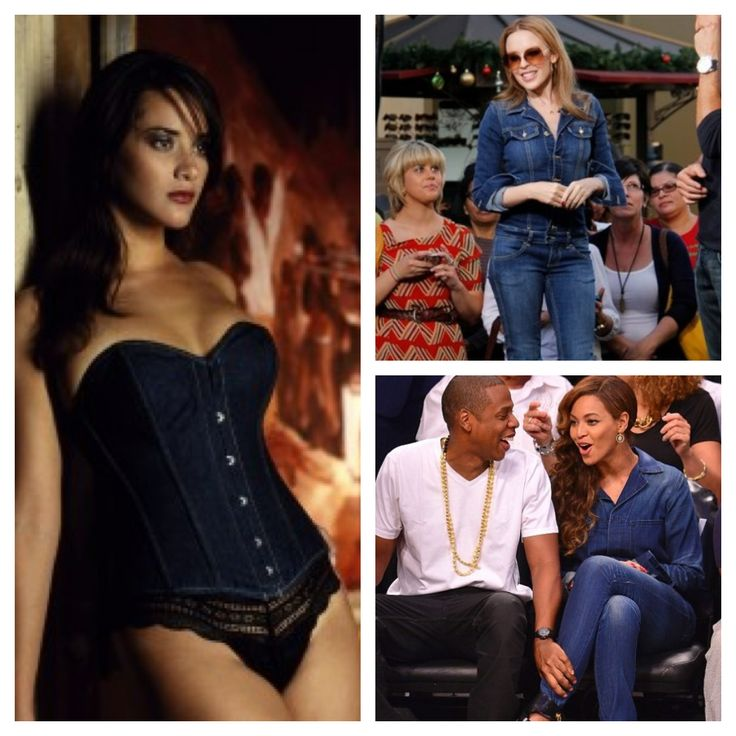 Get Kylie Minogue and Beyonce's Denim Look by teaming your favourite denim jeans with Vollers 'Embrace' Corset in Denim. Available at: http://www.vollers-corsets.com/embrace.html