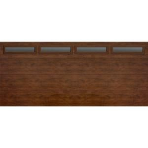 Martin Garage Doors, Wood Collection Summit 16 ft. x 7 ft. Flush Panel Walnut Woodgrain R8 Insulation Full View Clear Window Garage Door, HDIY-001144 at The Home Depot - Tablet