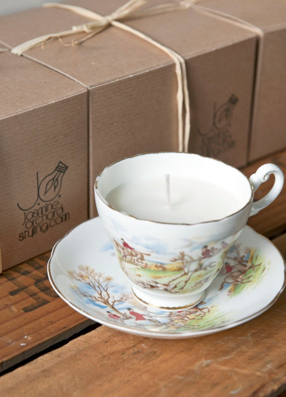 #upcycle. 'Riding Horses' Vintage Tea Cup with eco soy wax candle and pure essential oils.   http://www.etsy.com/shop/jasmineorchard