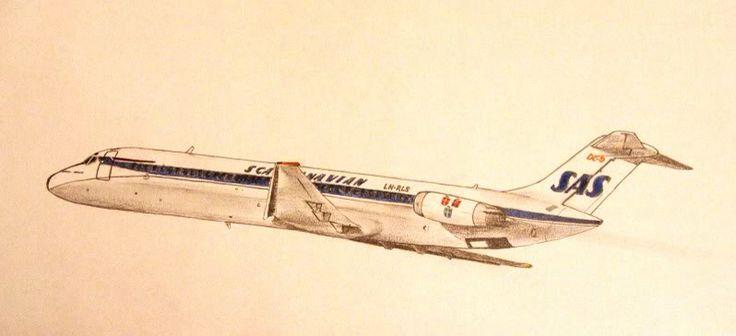 Pencil drawing SAS DC-9