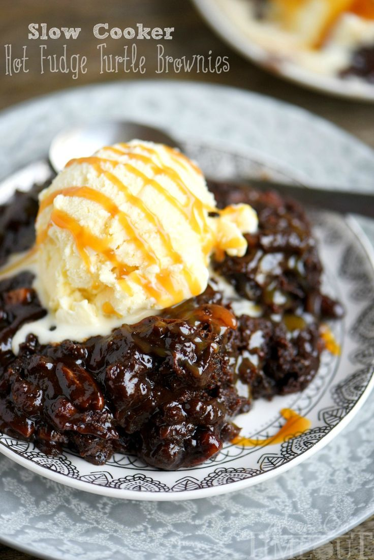 Fabulously gooey and outrageously delicious, these Slow Cooker Hot Fudge Turtle Brownies have it all! Hot fudge, caramel, pecans and gooey brownies!